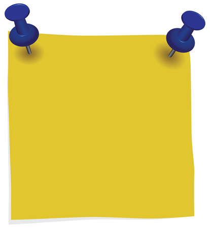 Yellow information label pinned office pins. Vector illustration. 向量圖像