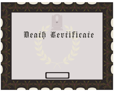 death: Certificate of death with tombstones, vintage design. Vector illustration.