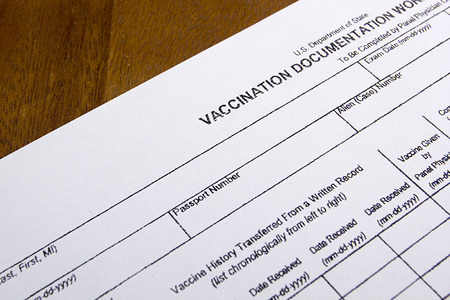 immunize: Vaccination Documentation sheet for filling in the performance of vaccination.