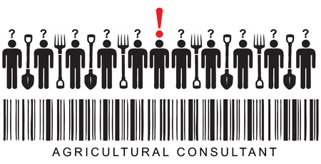 In the bar code word Agricultural Consultant. Vector illustration.