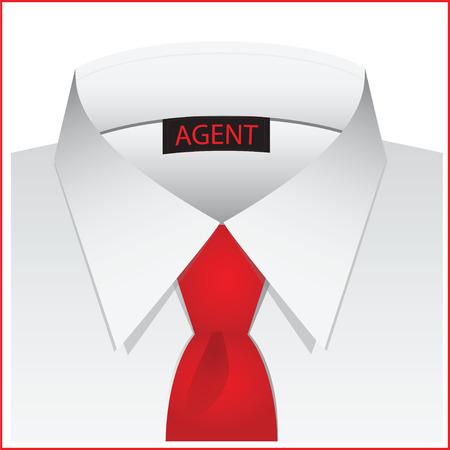 camicia bianca: Camicia bianca per l'agente, con etichetta e cravatta rossa .. illustrazione vettoriale.