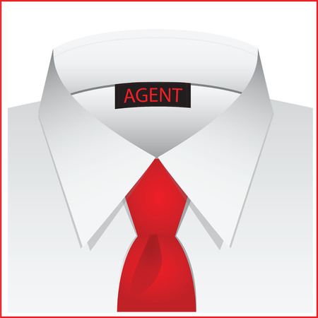 casing: White shirt for the agent, with label and red tie.. Vector illustration.