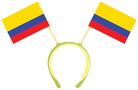 Witty headdress with flags Colombia. Vector illustration. 向量圖像