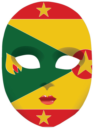 Classic mask with symbols of statehood of Grenada. Vector illustration