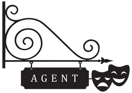 Street signs theatrical agent with theatrical masks. Vector illustration.