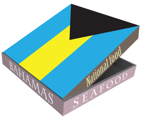 National cuisine of the Bahamas. Seafood in a cardboard box.. Vector illustration.