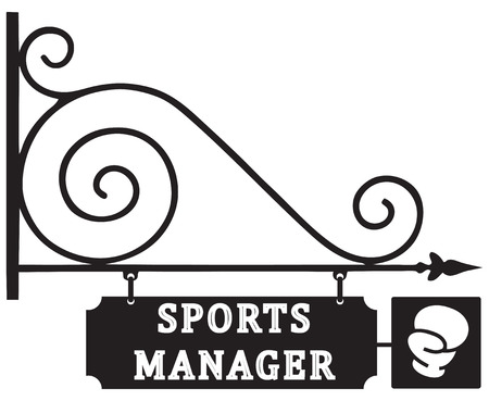 manager: Street pointer office sports manager in boxing. Vector illustration.