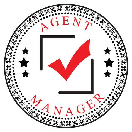 confirmacion: Símbolo creativo de la confirmación para el agente o el Administrador. Ilustración del vector.
