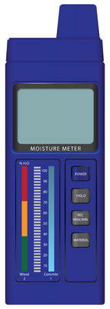 moisture: Digital moisture meter with indicator. Vector illustration.