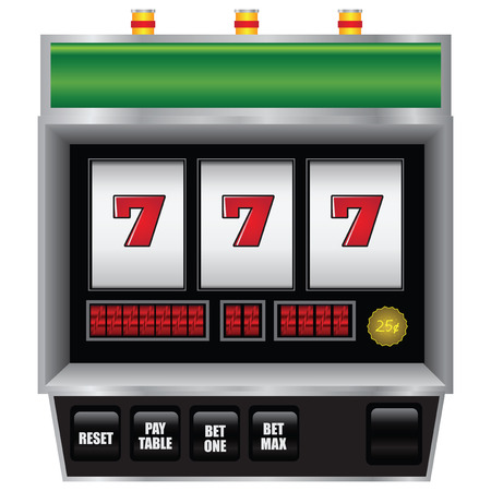 wheel of fortune: Scoreboard slot machine with a winning combination. Vector illustration.