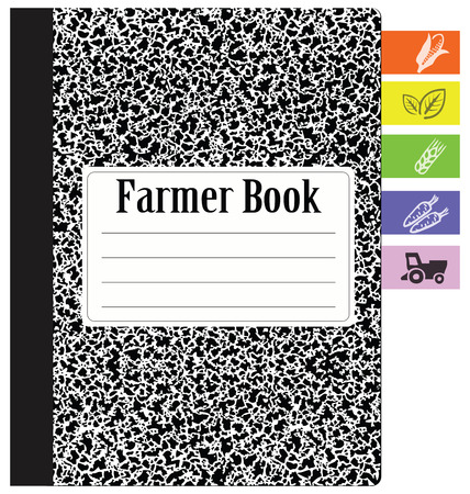 composition book: Book farmer with bookmarks for farm seasonal work. Vector illustration.