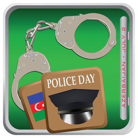 Police Day of Azerbaijan celebrated on July 2nd. Vector illustration.