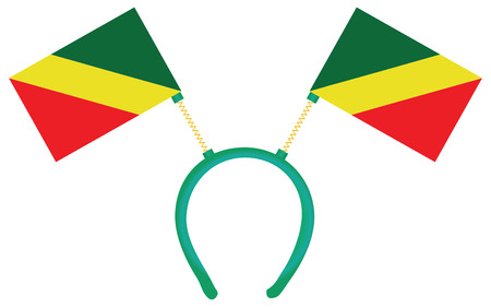 Witty headdress with flags Congo Republic. Vector illustration.