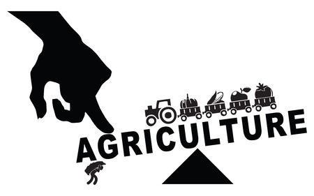 The industrialization of the farm, replacing manual labor. Vector illustration.