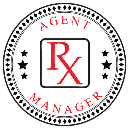 pharmaceutical company: Creative symbol for the Agent or Manager, a pharmaceutical company. Vector illustration.