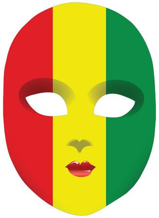statehood: Classic mask with symbols of statehood of Guinea. Vector illustration