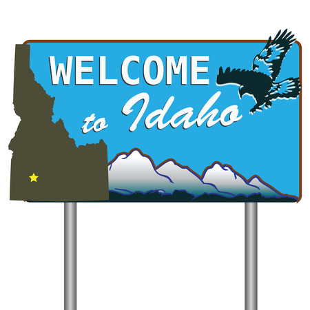 visitors: Road sign welcoming visitors to Idaho. Vector illustration. Illustration