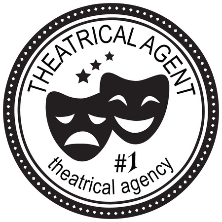 actors: Stamp theatrical agent in the agency of Service actors. Vector illustration.