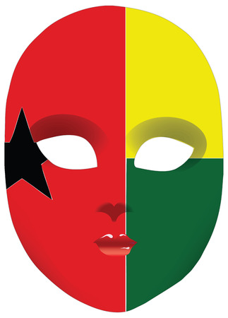 statehood: Classic mask with symbols of statehood of Guinea-Bissau.