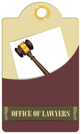 tally: Label Lawyers Offices with judicial gavel. Vector illustration.