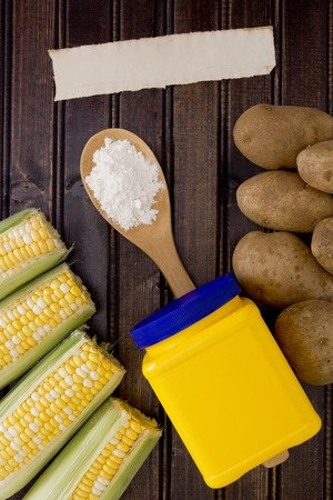starch: Natural starch in a plastic container and the products are a source of starch. Stock Photo