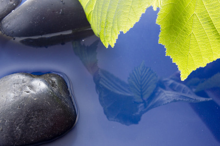 smooth stones: The theme of environmental protection, smooth stones in clean water. Stock Photo