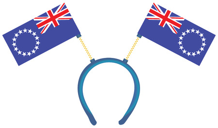 Witty headdress with flags Cook Islands. Vector illustration. 向量圖像