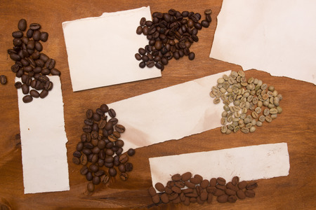 robusta: Different varieties of coffee beans: robusta, arabica, ekstselsa, Liberica and lyuvak Mine.