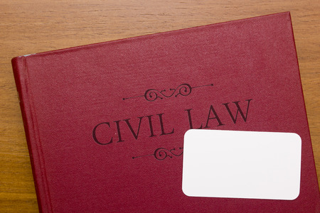 law books: Civil law - the body of law for civil proceedings. Stock Photo