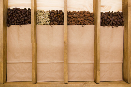robusta: Varieties of coffee packaged types: Arabica, Robusta, Excelsa, Kopi Luwak, Liberica