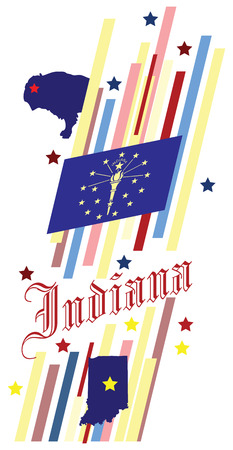 advertise with us: Abstract symbols of the State of Indiana in the United States. Vector illustration. Illustration