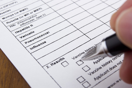 vaccinate: Vaccination Documentation sheet filled when performing vaccinations. Stock Photo