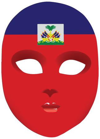Classic Mask With Symbols Of Statehood Of Haiti Vector Illustration