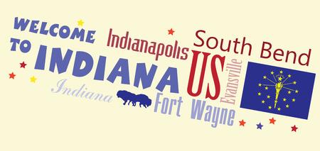 インディアナの州の主な都市と抽象的なバナーへようこそ。ベクトルの図。