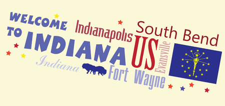 Welcome to Indiana - Abstract banner with the main cities of the state. Vector illustration.