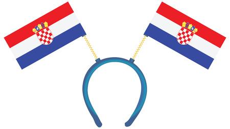 Witty headdress with flags Croatia. Vector illustration.