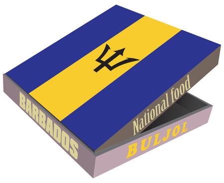 fiambres: Buljo - ensalada fría de bacalao, el plato nacional de Barbados. Ilustración del vector. Vectores