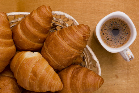 getting started: A cup of morning coffee and croissants.