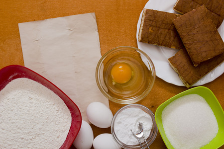 biscuit dough: Ingredients for cooking culinary biscuit dough at home.