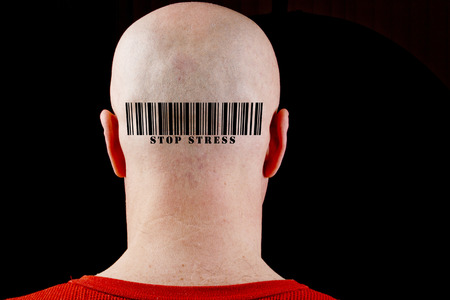Barcode Stop stress. The bar code printed on the head of a man. Stock Photo