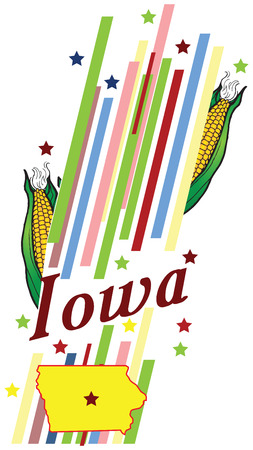 advertise with us: Abstract symbols of the State of Iowa in the United States. Vector illustration. Illustration