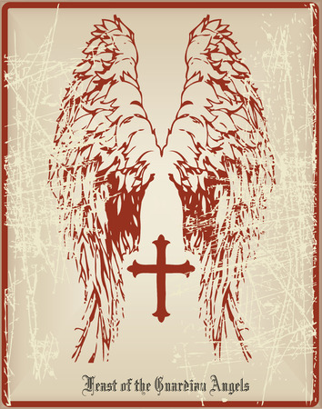 Old greeting card with the holiday guardian angels. Vector illustration.