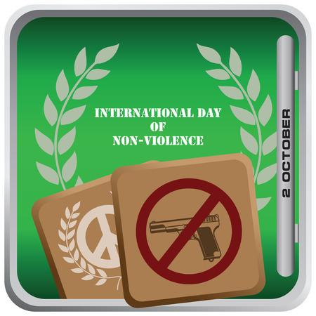 październik: October 2 International Day of Non-Violence - square banner. Vector illustration.