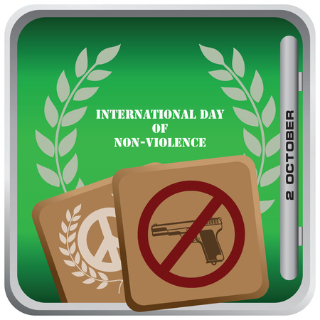 October 2 International Day of Non-Violence - square banner. Vector illustration.