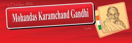 Banner dedicated public event in India - the birthday of Mohandas Karamchand Gandhi. Vector illustration.