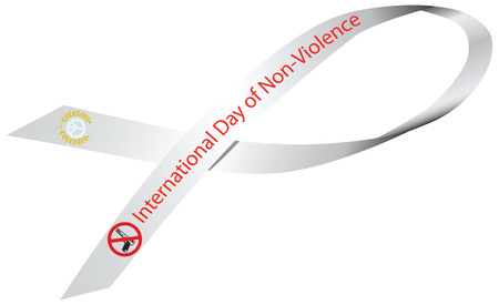 nonviolence: White Ribbon to the International Day of Non-Violence. Vector illustration.