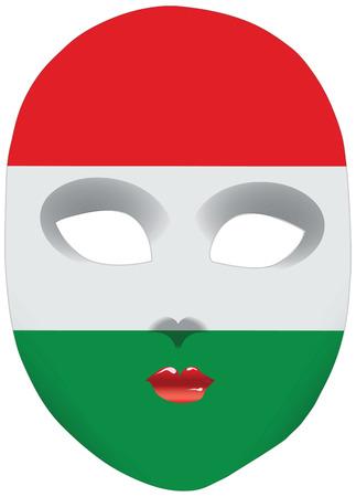 Classic mask with symbols of statehood of Hungary. Vector illustration Иллюстрация