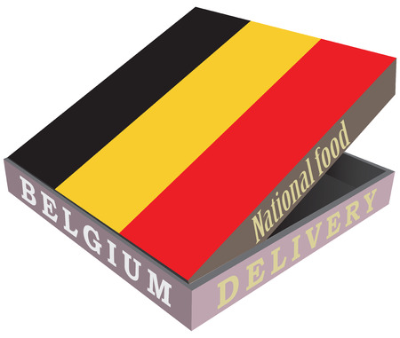 fiambres: La entrega de la comida nacional belga en una caja con la bandera nacional del país. Ilustración del vector. Vectores