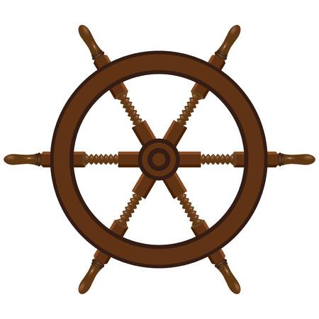 船のステアリング ホイールは木から成っています。ベクトルの図。