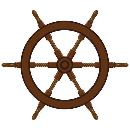 Ship steering wheel made of wood. Vector illustration.